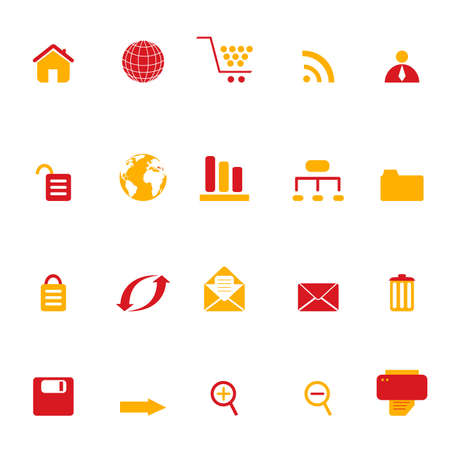 Conjunto de icono de símbolos de Internet, web y e-commerce Foto de archivo - 6797746