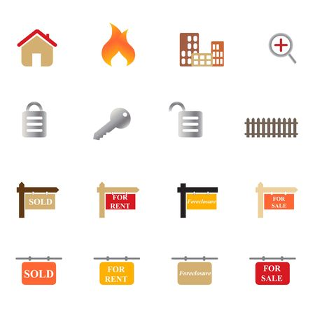 Real estate related symbols and objects icon set photo