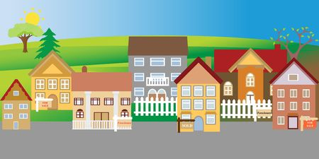 販売および郊外の近所で抵当流れの家