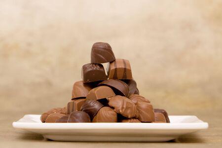 Bunch of milk and dark chocolates Reklamní fotografie