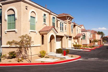 stucco facade: Suburban houses in a quiet southwestern neighborhood Stock Photo