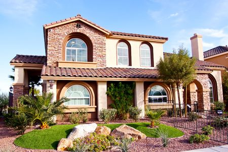 architectural exterior: Exterior view of a stucco house Stock Photo
