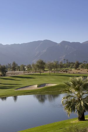 View of a lush golf course Imagens