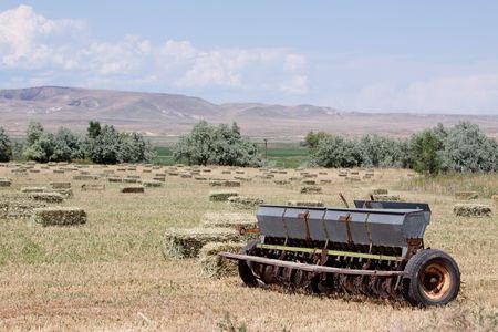 baler: Haystacks and baler in the field