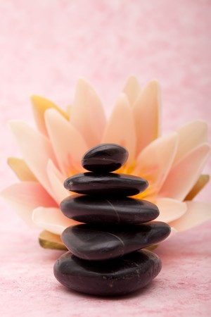 waterlilly: Stack of lastone therapy rocks and waterlilly