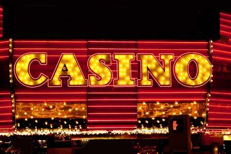 Bright shiny casino neon lights photo