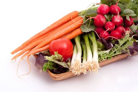 Fresh carrots, radishes, scallions, tomatoes and greens
