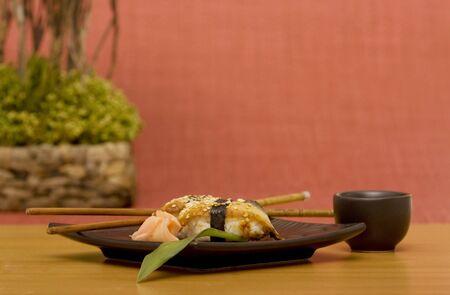 Unagi sushi with sake