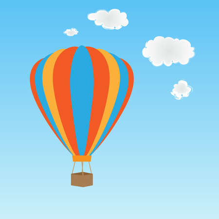 Colorful hot air balloon on blue sky photo