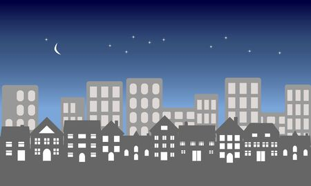suburban: Suburban homes in front of a city at night Stock Photo