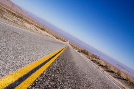 Long stretch of desert road