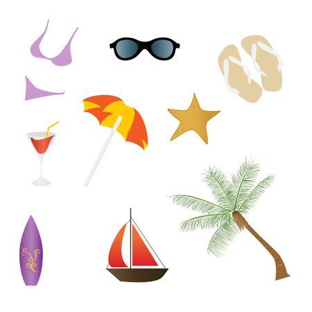 ビーチと夏関連アイコン 写真素材