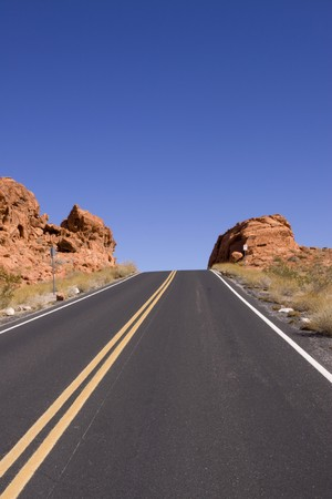 Long stretch of asphalt road