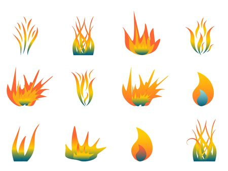 Various hot flames on white