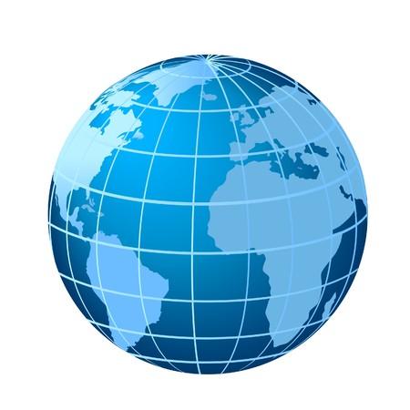 Globe met Europa, Afrika en Zuid-Amerika met de Atlantische Oceaan