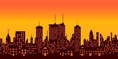 city lights: Sunset over a big city