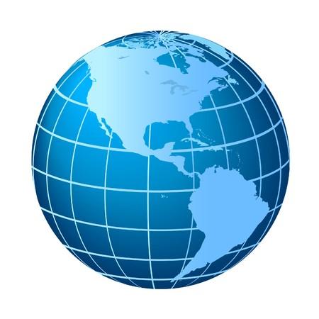 meridiano: Globo con Norteamérica y Sudamérica Foto de archivo