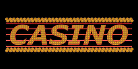 Casino sign with gold neon lights Stok Fotoğraf - 7110222