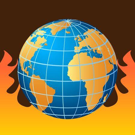 Globe in fire, global warming