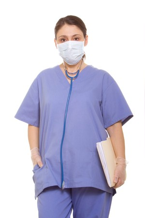 female surgeon: Female surgeon in scrubs Stock Photo