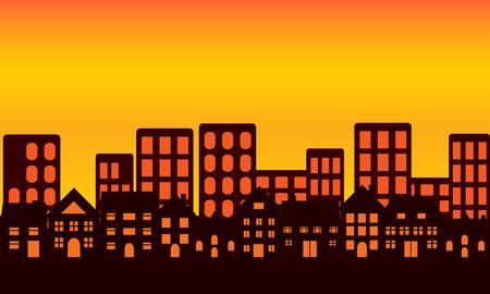 De skyline van de grote stad bij zons ondergang of zons opgang