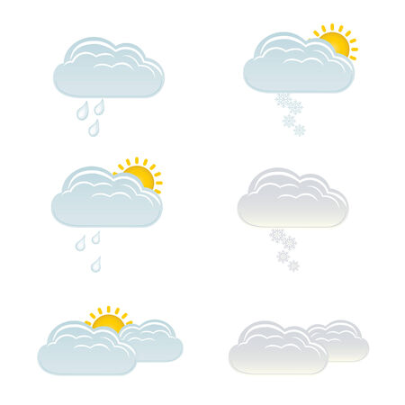 Clouds with snow, rain and sun for weather forecast Stock Vector - 7164104