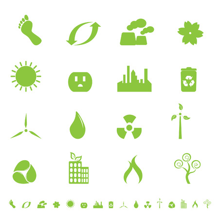 afvalbak: Groene ecologie en milieu symbolen  Stock Illustratie
