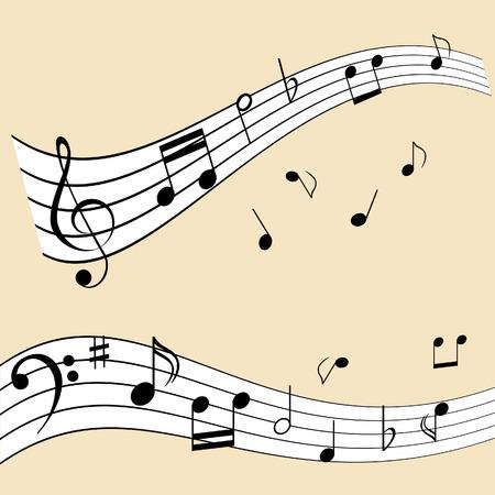 sheet: Musical notes on music sheet Illustration
