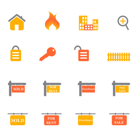 Real estate icons and symbols in orange and yellow tones
