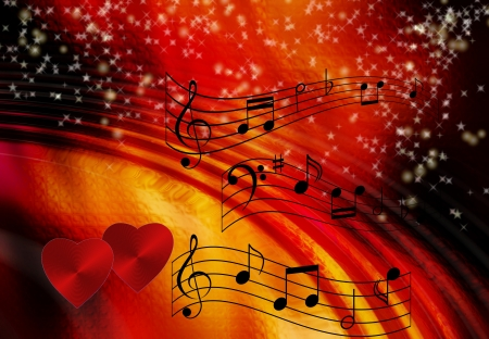 Music notes on romantic background