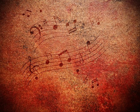 sheet music: Music notes on grungy looking antique background