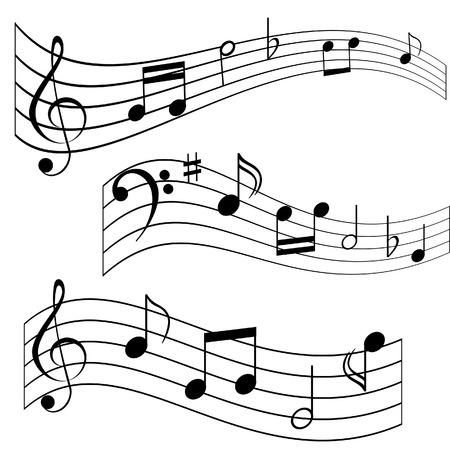clave de fa: Notas musicales en hoja de m�sica (melod�a compuesta)  Vectores