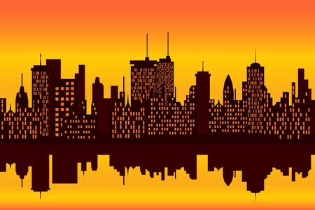 city lights: City skyline at sunset or sunrise with reflection Stock Photo