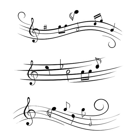 clave de fa: Varias notas musicales de partituras musicales