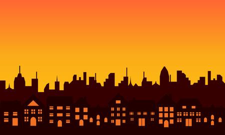 Skyline van de grote stad tijdens zonsopgang of zonsondergang