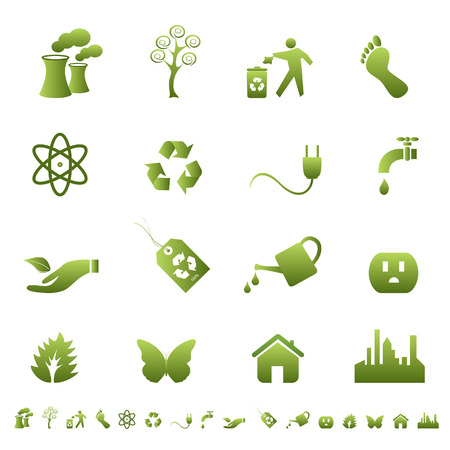green footprint: Clean environment and ecology symbols and signs Illustration
