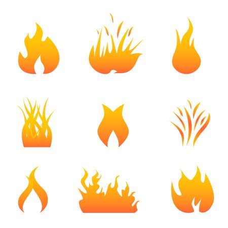 Hot flames and fire symbols