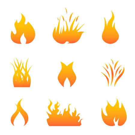 flammable warning: Hot flames and fire symbols