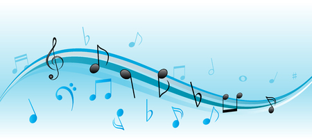 Musical notes on blue and white swirls Stock Vector - 7256543