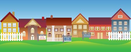 Houses for sale and foreclosure in a suburban neighborhood Illustration