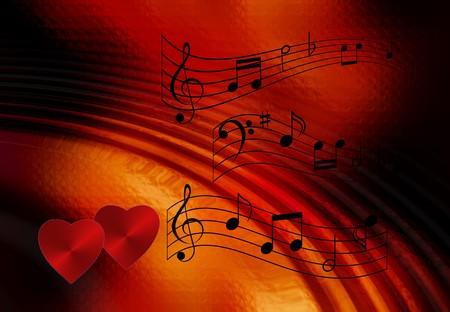 Muziek notities op romantische achtergrond