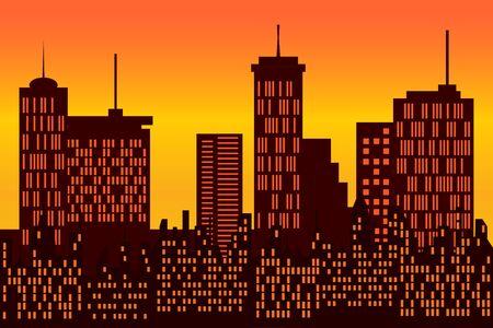 Big city skyline during sunrise or sunset Фото со стока