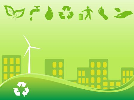 conscious: Green environmentally conscious city view