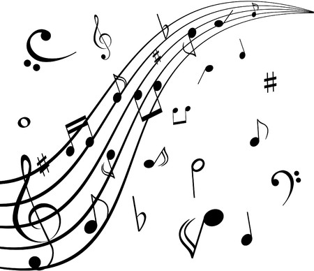 sheet music: Musical notes on white background