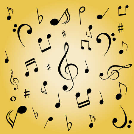 Musical notes spread on gold background