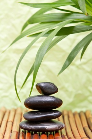 Lastone therapy rocks with bamboo leaves Stock Photo