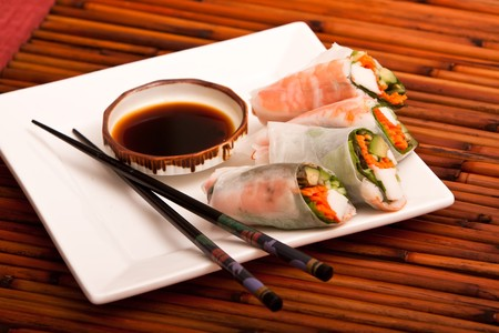 Spring rolls with chopsticks and soy sauce photo