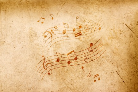 music background: Music notes on grungy looking antique background