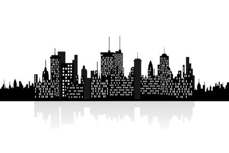City skyline with urban buildings