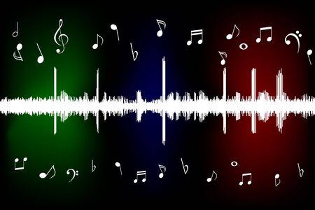 clave de fa: Onda de sonido con notas musicales